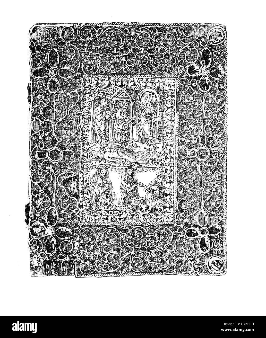 Medieval jeweled bookbinding with metalwork, ivory carvings and jewels, Karolingian time, IX century - Stock Image