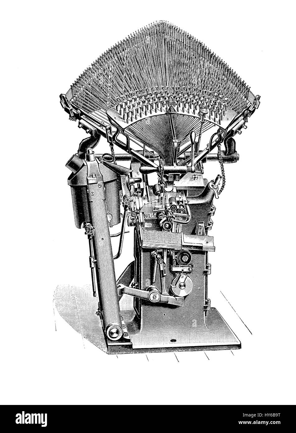 Typography, typesetting machine for print composition, XIX century - Stock Image