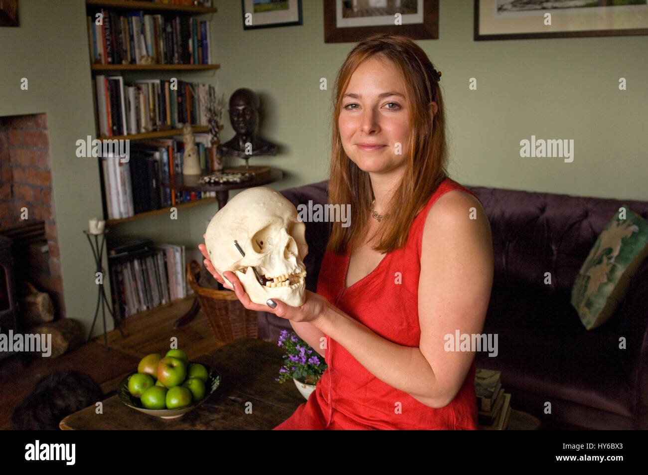 Professor Alice Roberts at her home. - Stock Image