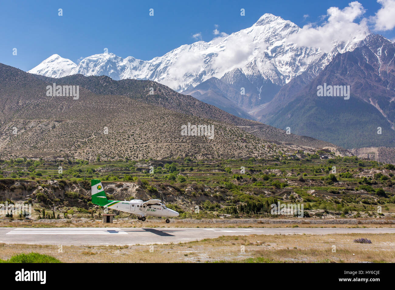 Jomsom, Nepal - May 14, 2016: Jomsom airport in Nepal - one of the most dangerous airports in the world. - Stock Image
