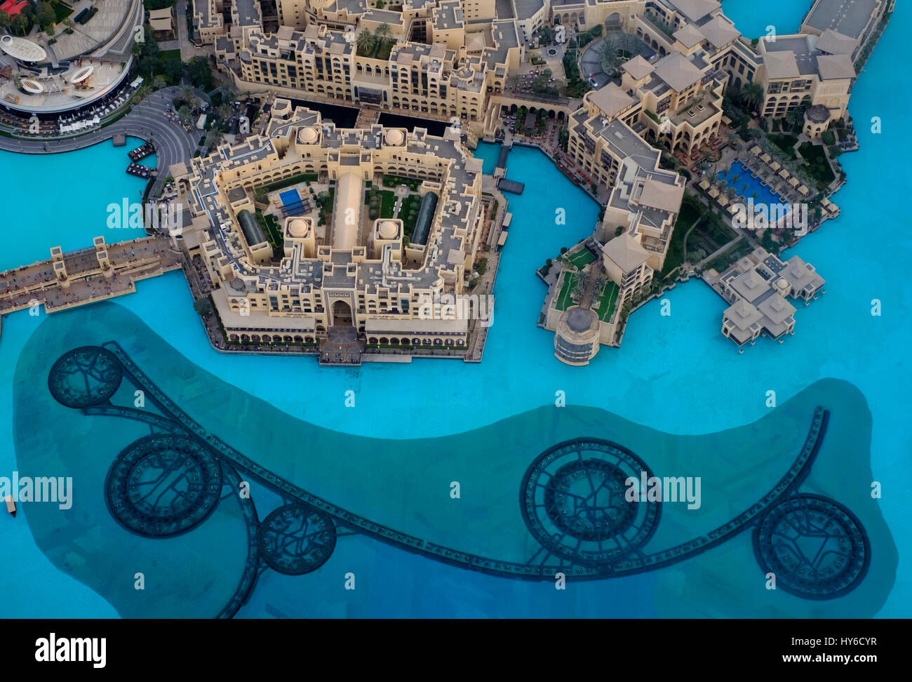 UNITED ARAB EMIRATES, DUBAI - CIRCA JANUARY 2017: The Dubai Fountain and Burj Khalifa Lake as seen from the Burj - Stock Image