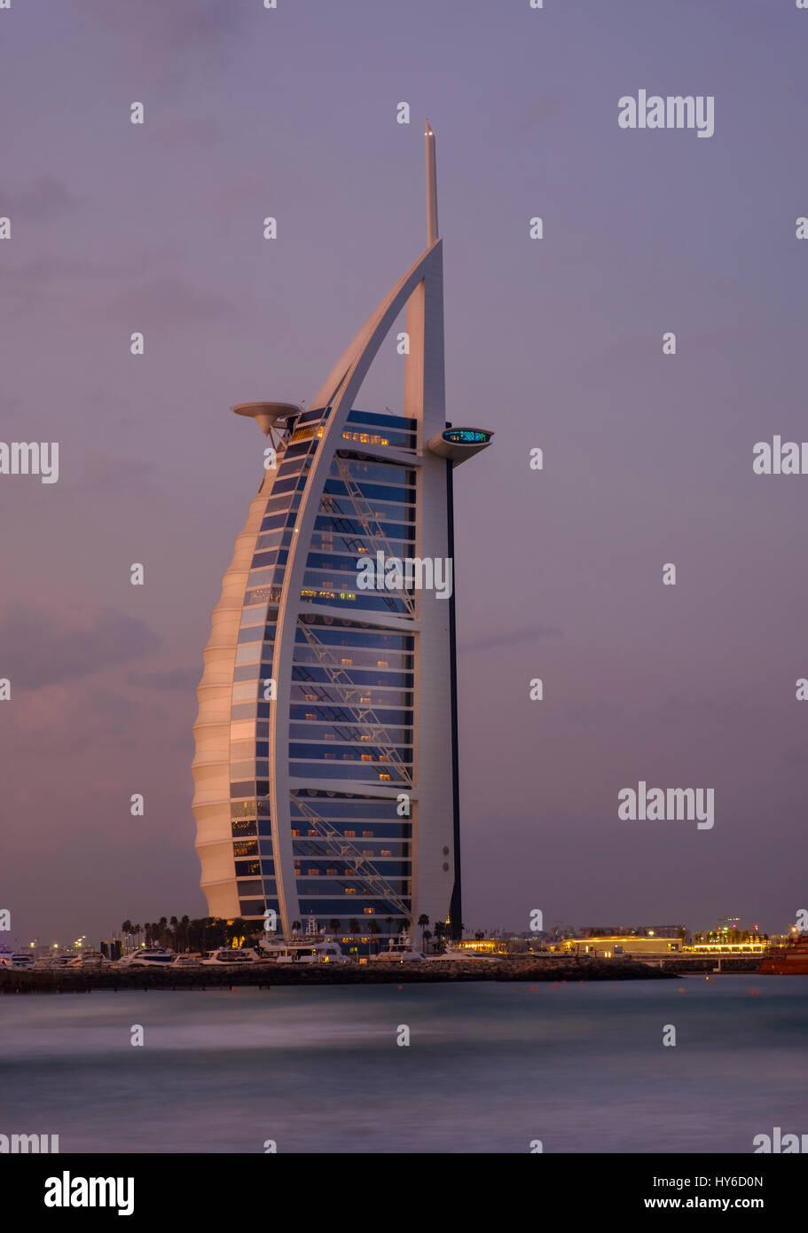 UNITED ARAB EMIRATES, DUBAI - CIRCA JANUARY 2017:  Burj Al Arab at dawn, the only 7 star hotel in the world. - Stock Image