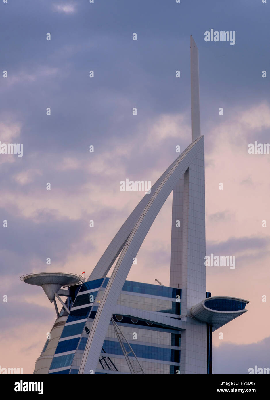 UNITED ARAB EMIRATES, DUBAI - CIRCA JANUARY 2017:  Architectural detail of the Burj Al Arab, the only 7 star hotel - Stock Image