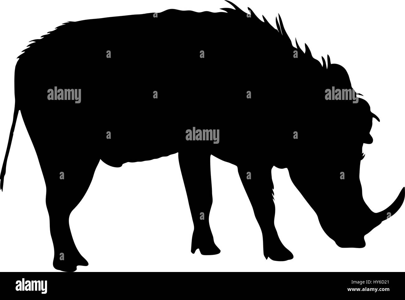 Silhouette of a funny moving standing warthog - Stock Vector