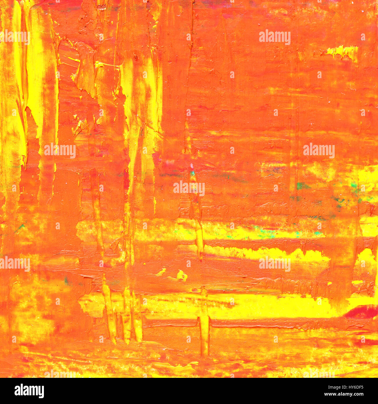 Orange oil painting texture with brush strokes. Abstract background - Stock Image