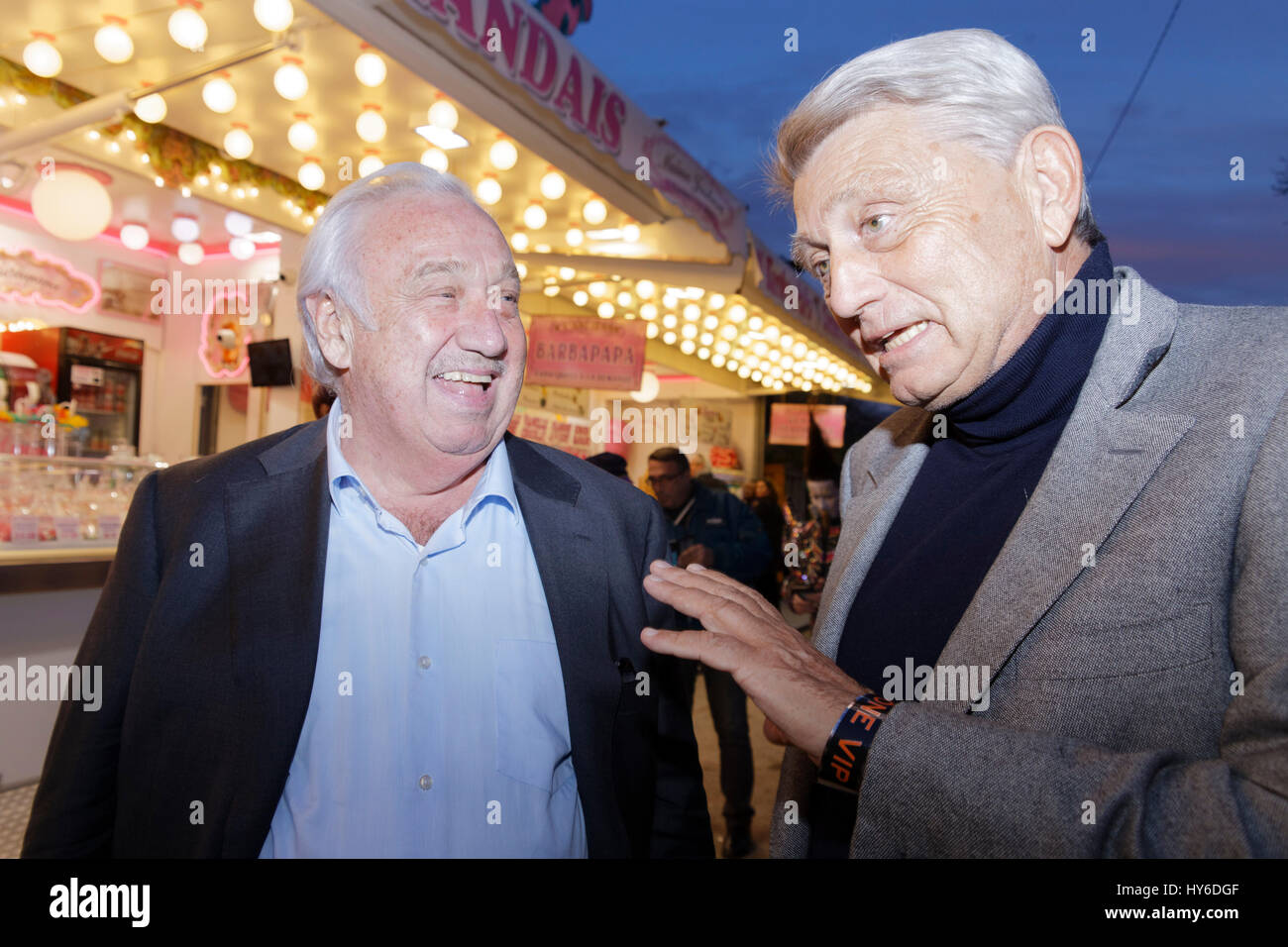 Marcel Campion and Alain Madelin attend at Opening evening of the 2017 Throne Fair for the benefit of the Association Stock Photo
