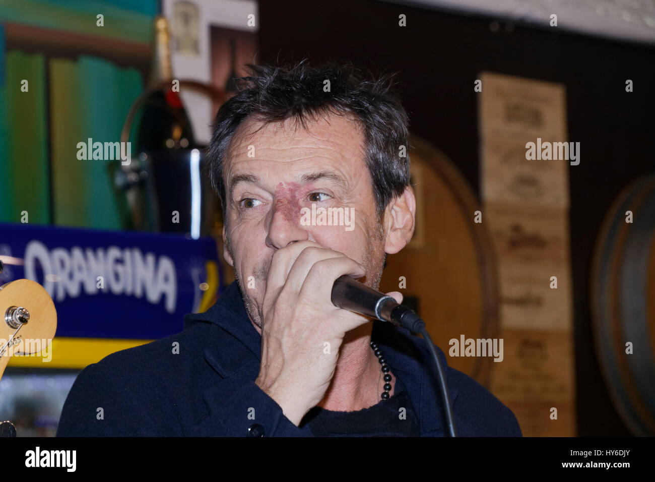 Paris, France. 31th March, 2017. Jean-Luc Reichmann sings at Opening evening of the 2017 Throne Fair for the benefit Stock Photo