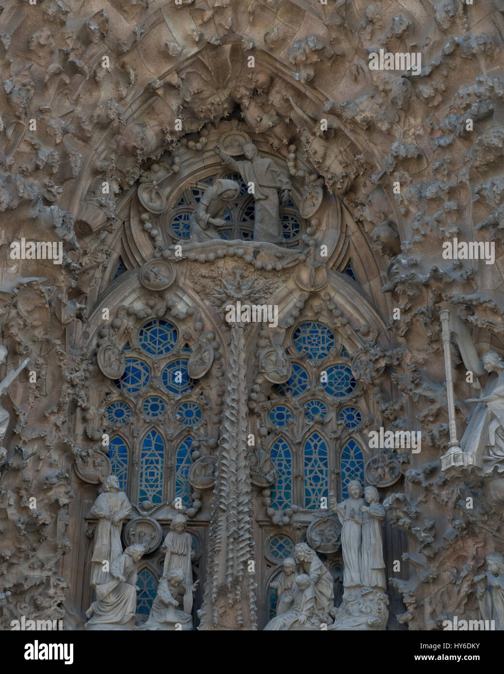 Nativity facade of Sagrada Família Basilica by Antoni Gaudí, UNESCO World Heritage site, Barcelona, Catalonia, - Stock Image