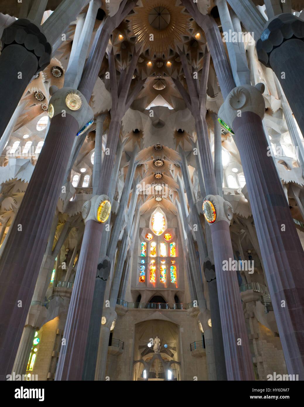 Interior nave of Sagrada Família Basilica by Antoni Gaudí, UNESCO World Heritage site, Barcelona, Catalonia, - Stock Image