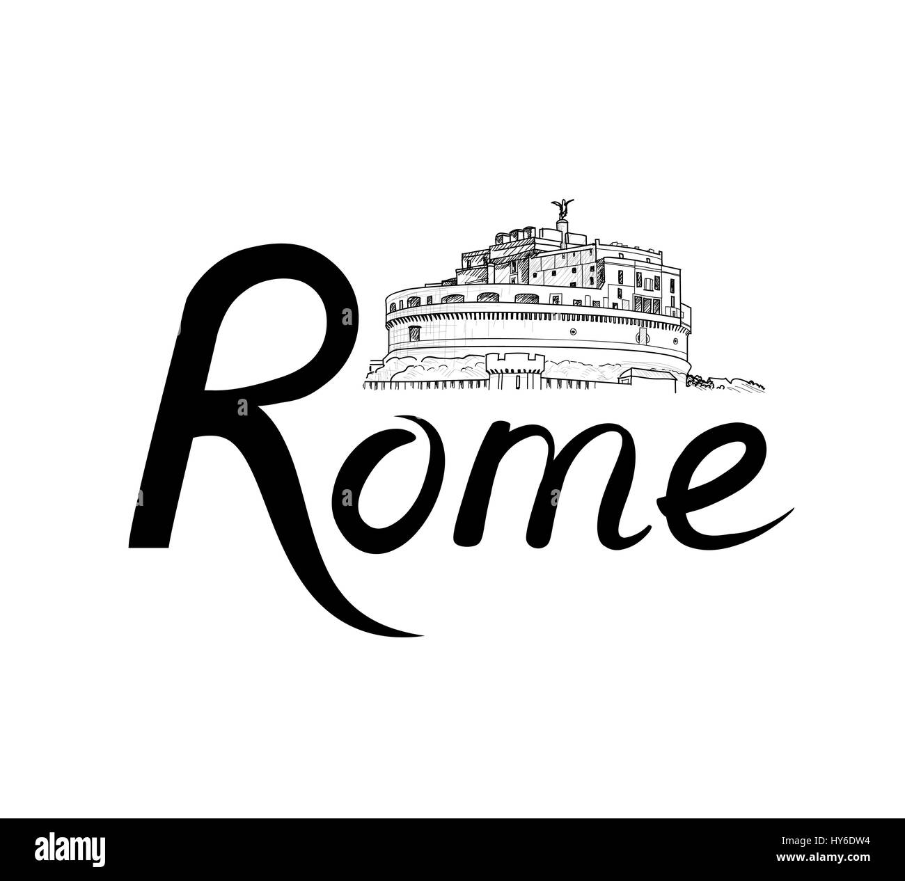Rome famous place with lettering Travel Italy background. City landmark engraving sign. Rome cityscape with Castle - Stock Vector