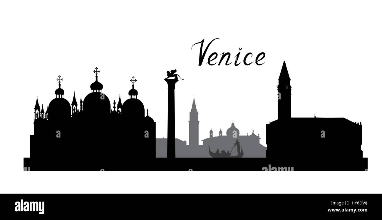 Venice famous landmarks skyline. Travel Italy background. City silhouette - Stock Image
