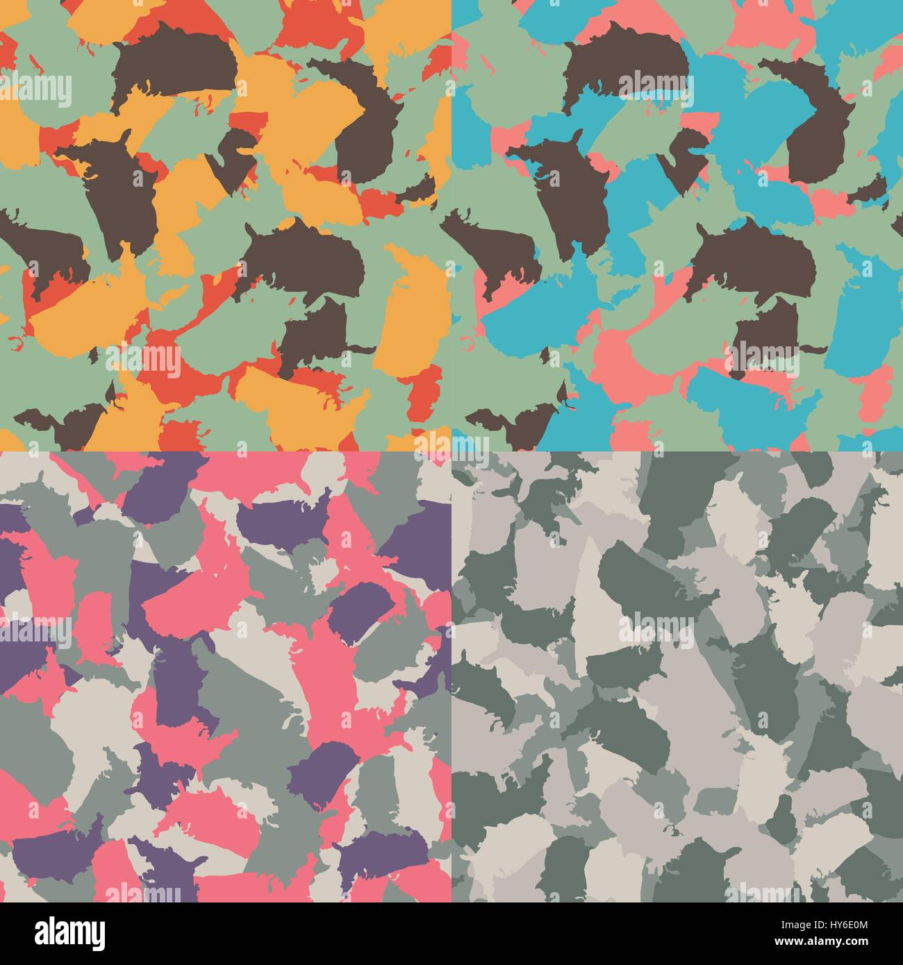 Colorful America urban camouflage. Set of USA shape camo seamless pattern. Vector fabric textile. Military print - Stock Image