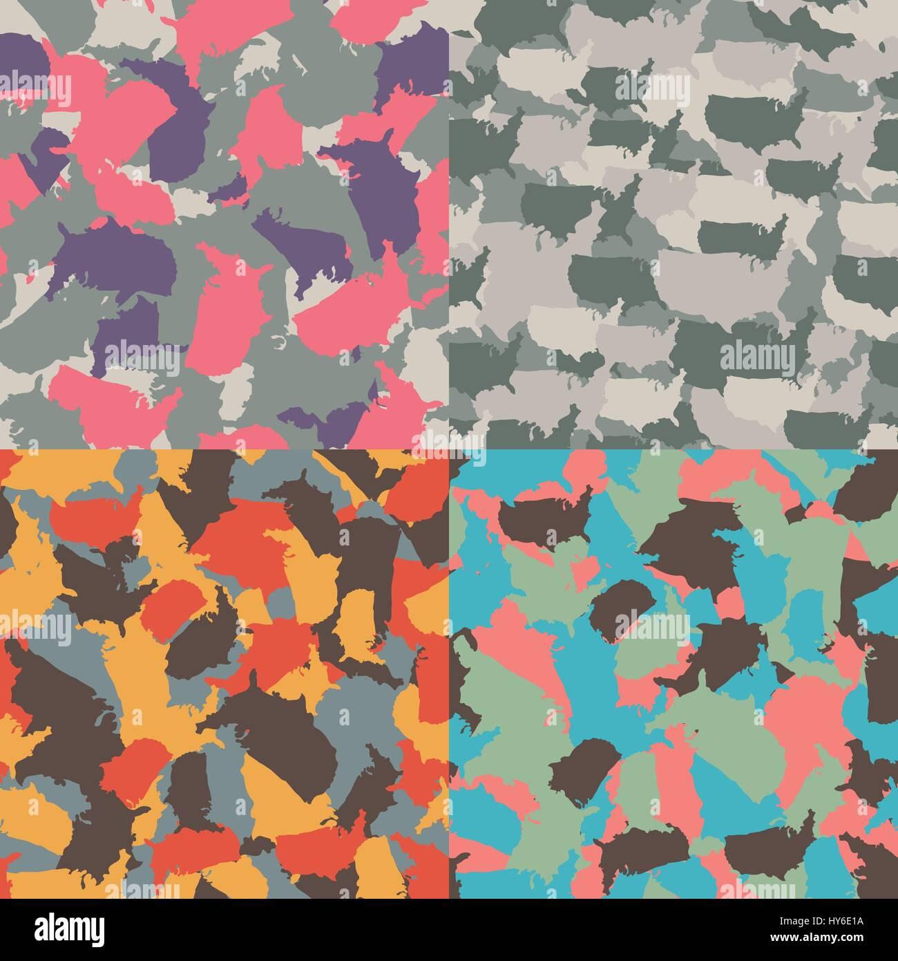 Set of USA shape camo seamless pattern. Colorful America urban camouflage. Vector fabric textile print design - Stock Image
