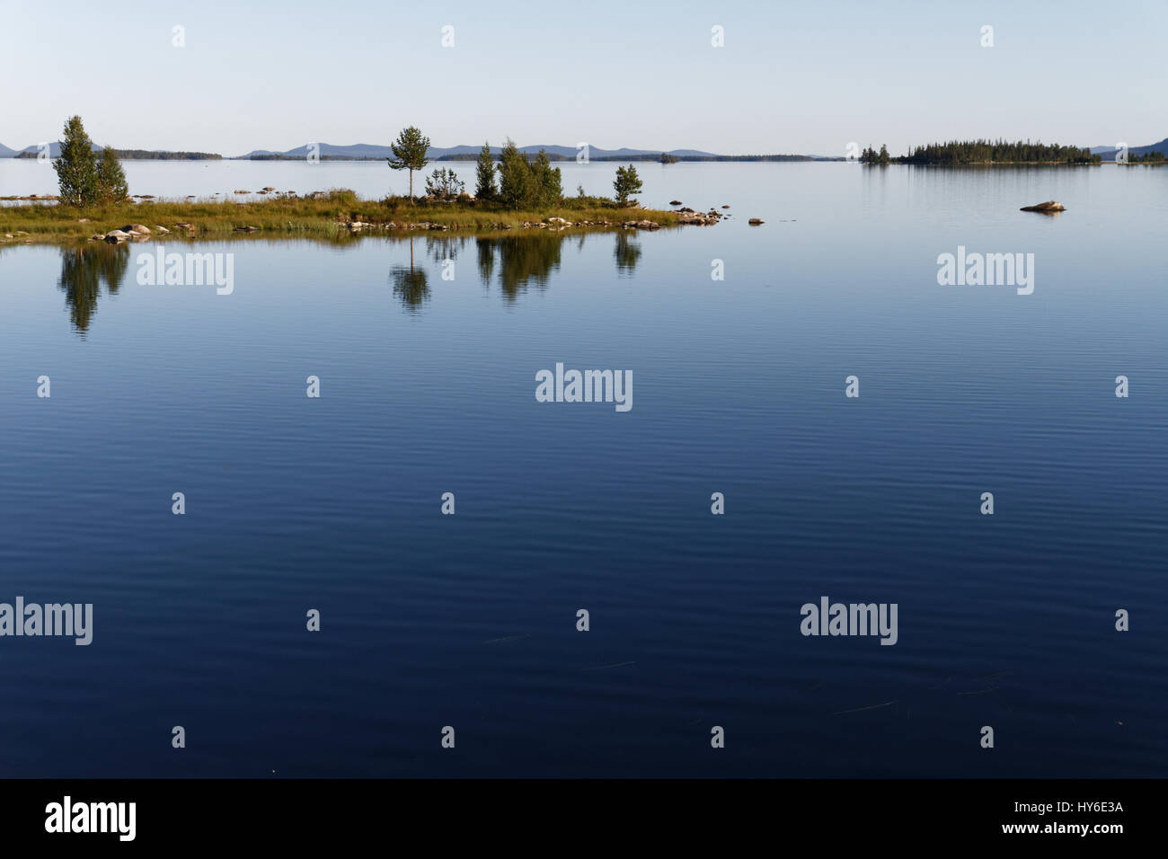 Summer lake in Lappland in Northern Sweden - Stock Image