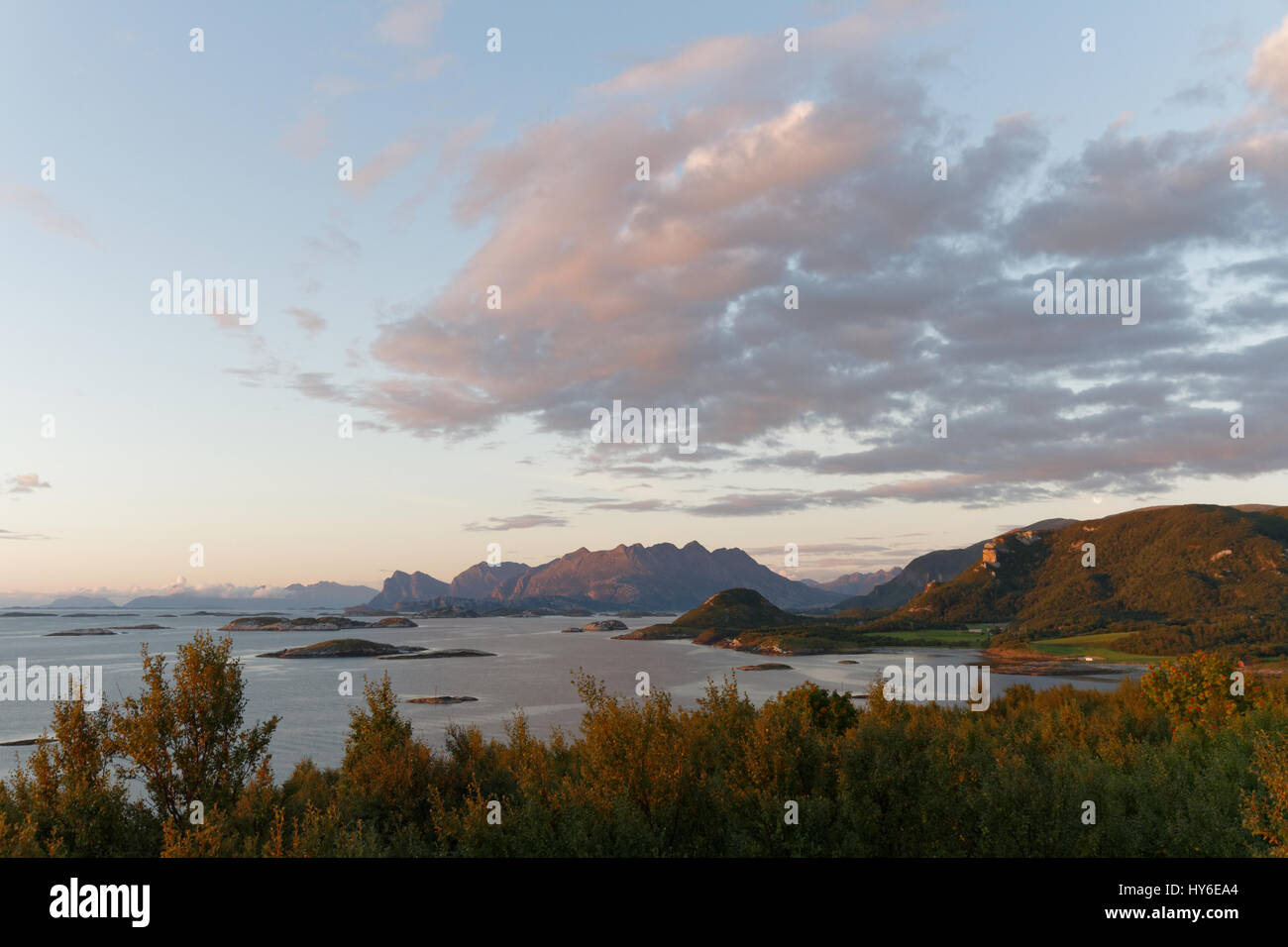 Late summer coastal view near Bodø, Norway - Stock Image