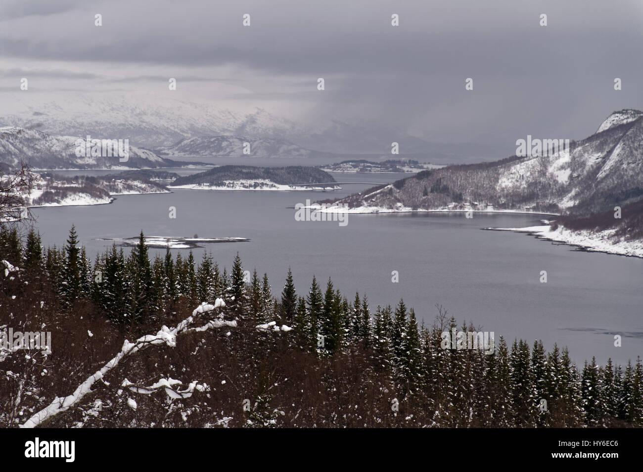 Misty winter view near Misvær, Norway - Stock Image