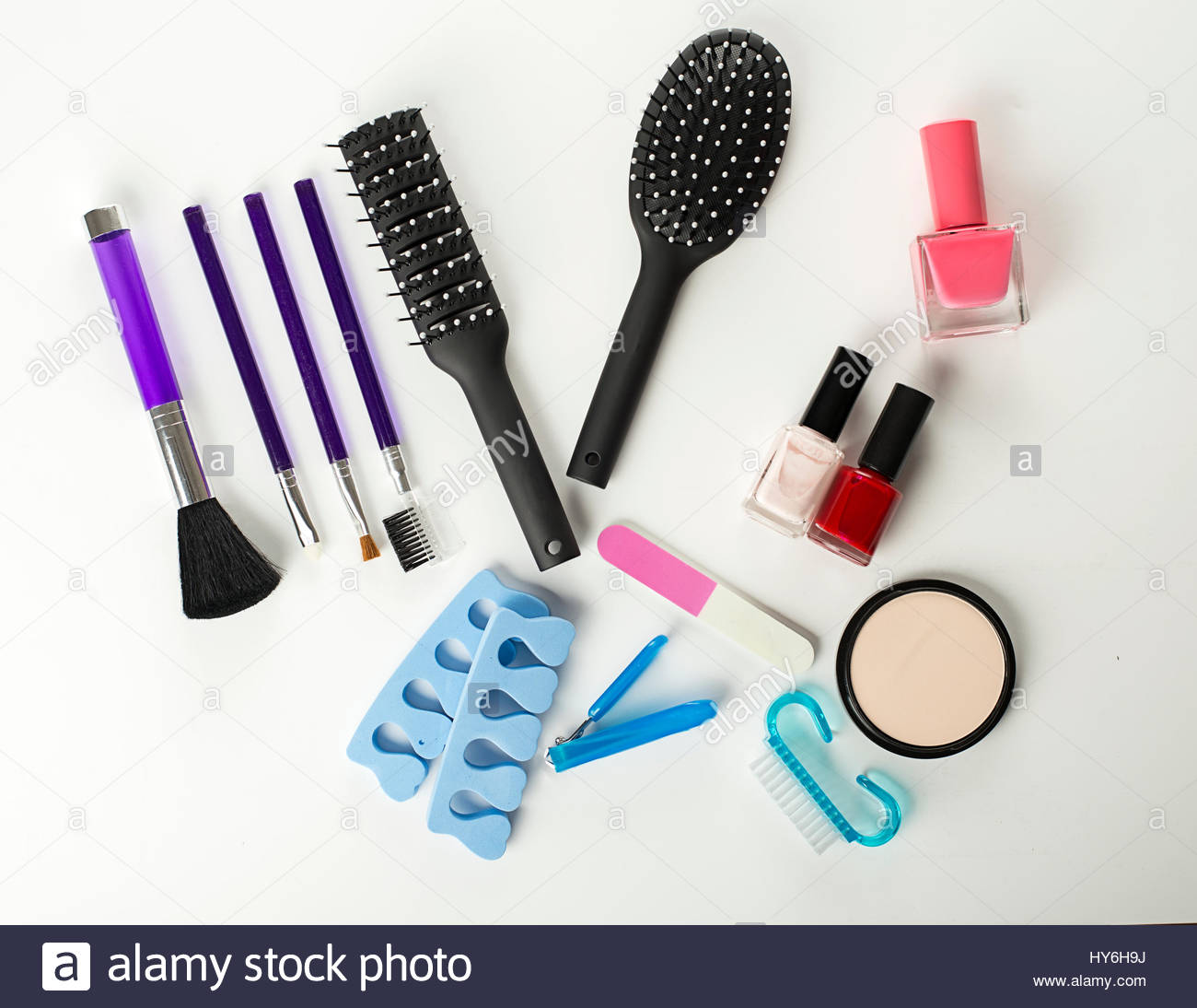 Tools for manicure, nail painting, makeup and hair styling Stock ...