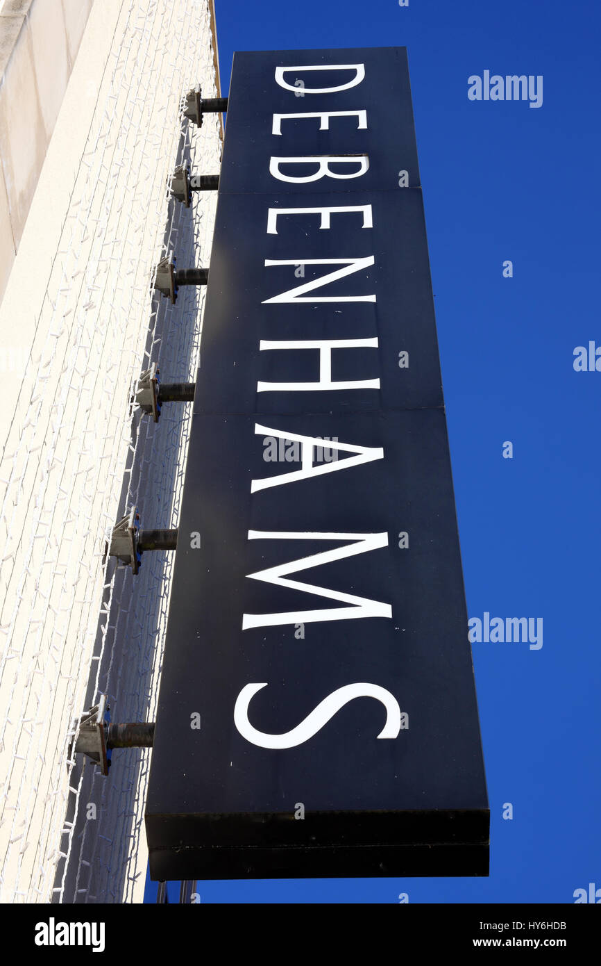 Carmarthen, Wales, UK, October 22, 2016 :  Debenhams logo advertising sign outside one of  its department stores - Stock Image