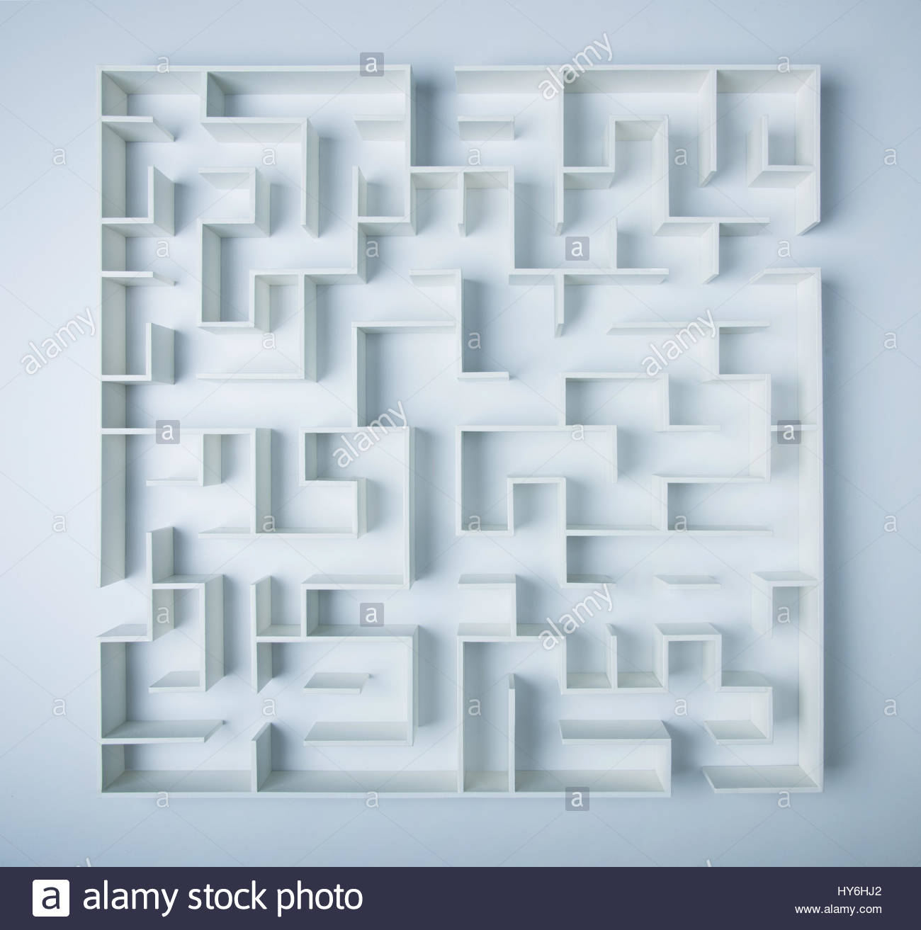Maze on white background concept for decision-making - Stock Image