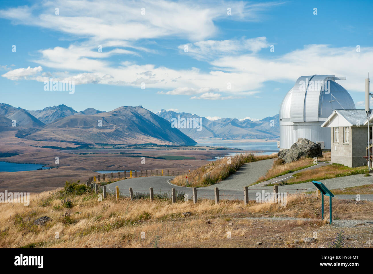 Mount John Observatory and Mackenzie country viewed from Mount John. This is New Zealands premier astronomical observatory. - Stock Image