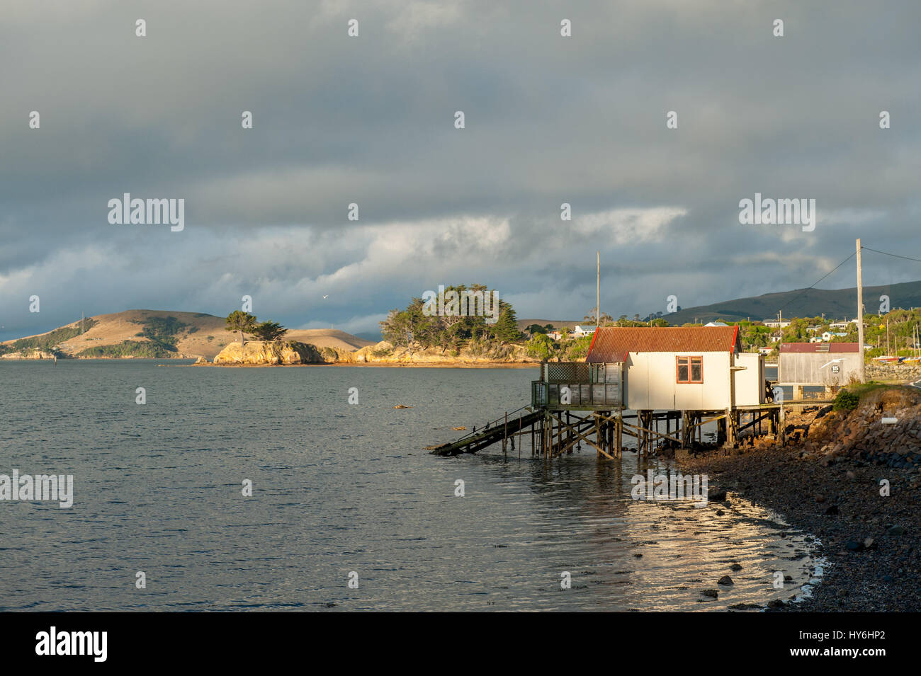 Otago Peninsula and Otago Harbour during sunset east of Dunedin, New Zealand - Stock Image