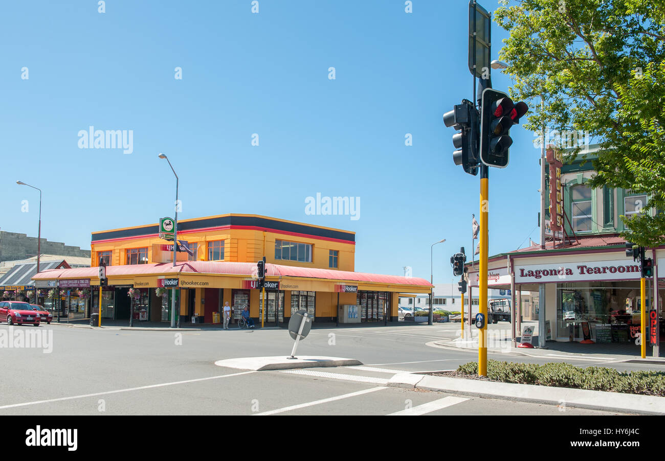 Oamaru, small town, city, street, buildings, architecture, New Zealand, south island, countryside, historic, old, - Stock Image