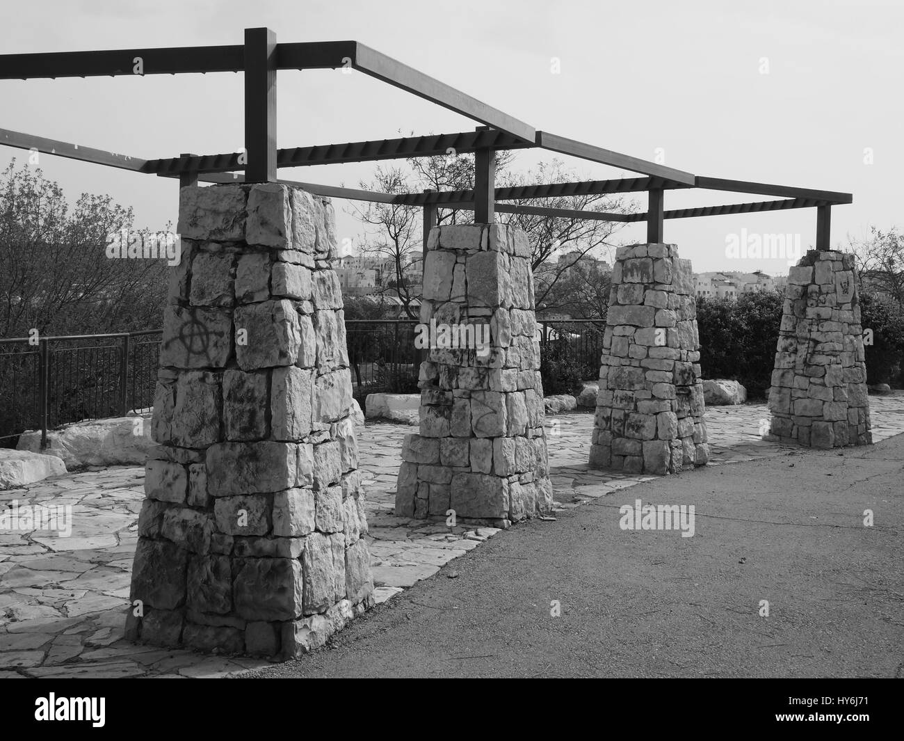 stone columns - Black And White - Stock Image