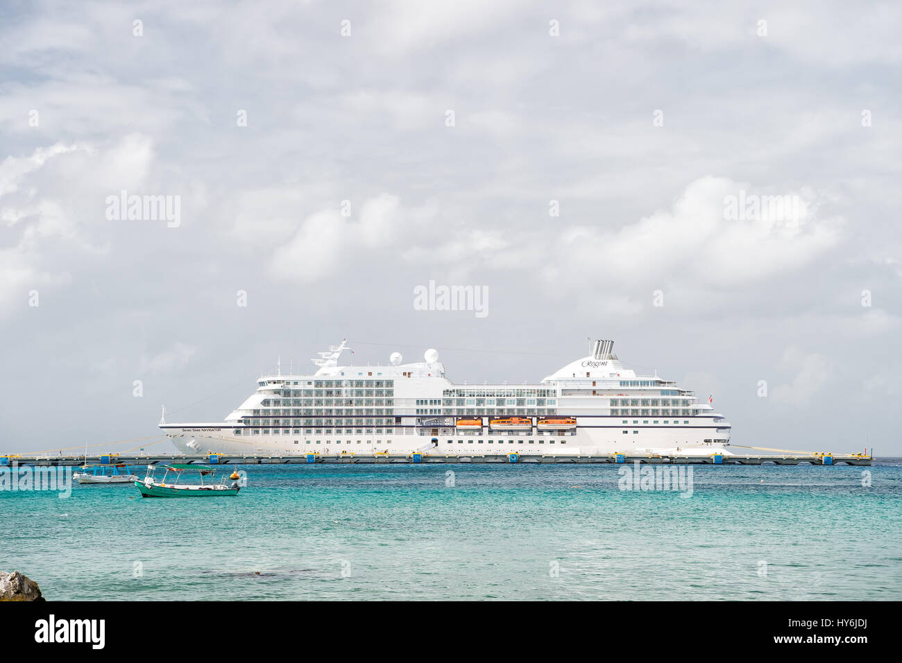 Cozumel, Mexico - December 24, 2015: large cruise ship or liner in bay or harbor, touristic passenger boat on water - Stock Image