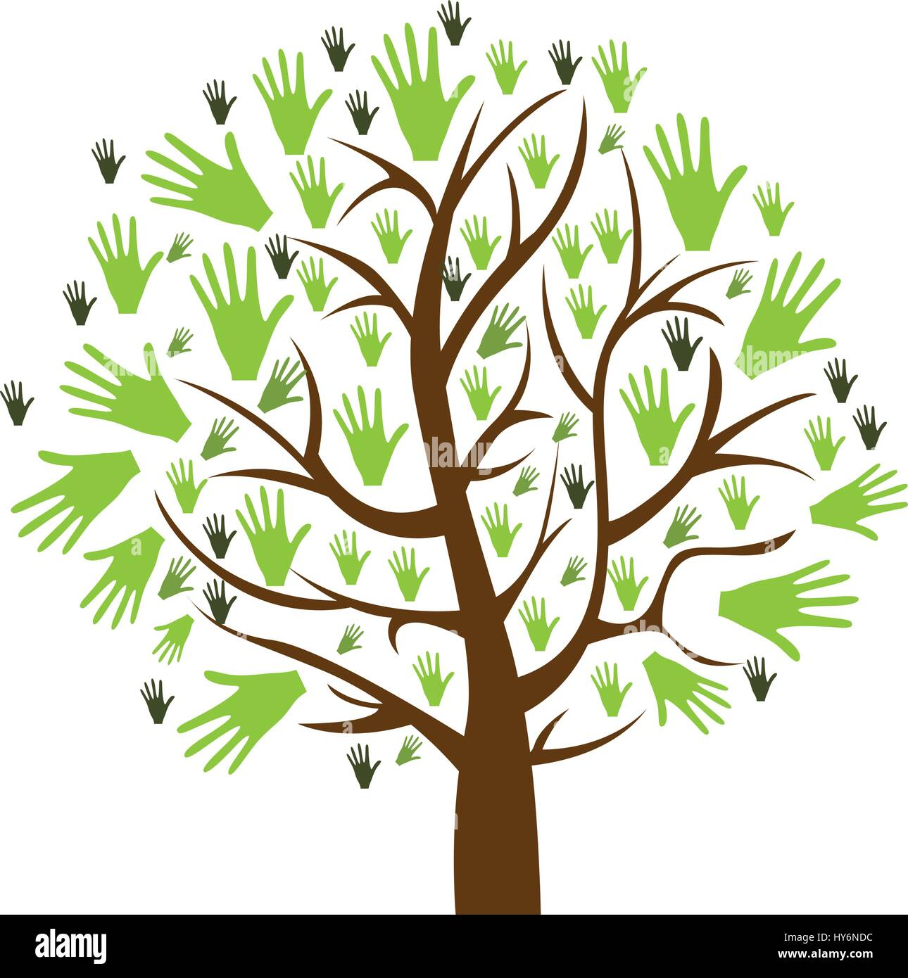 color background of tree with leaves in shape of hands Stock Vector ...