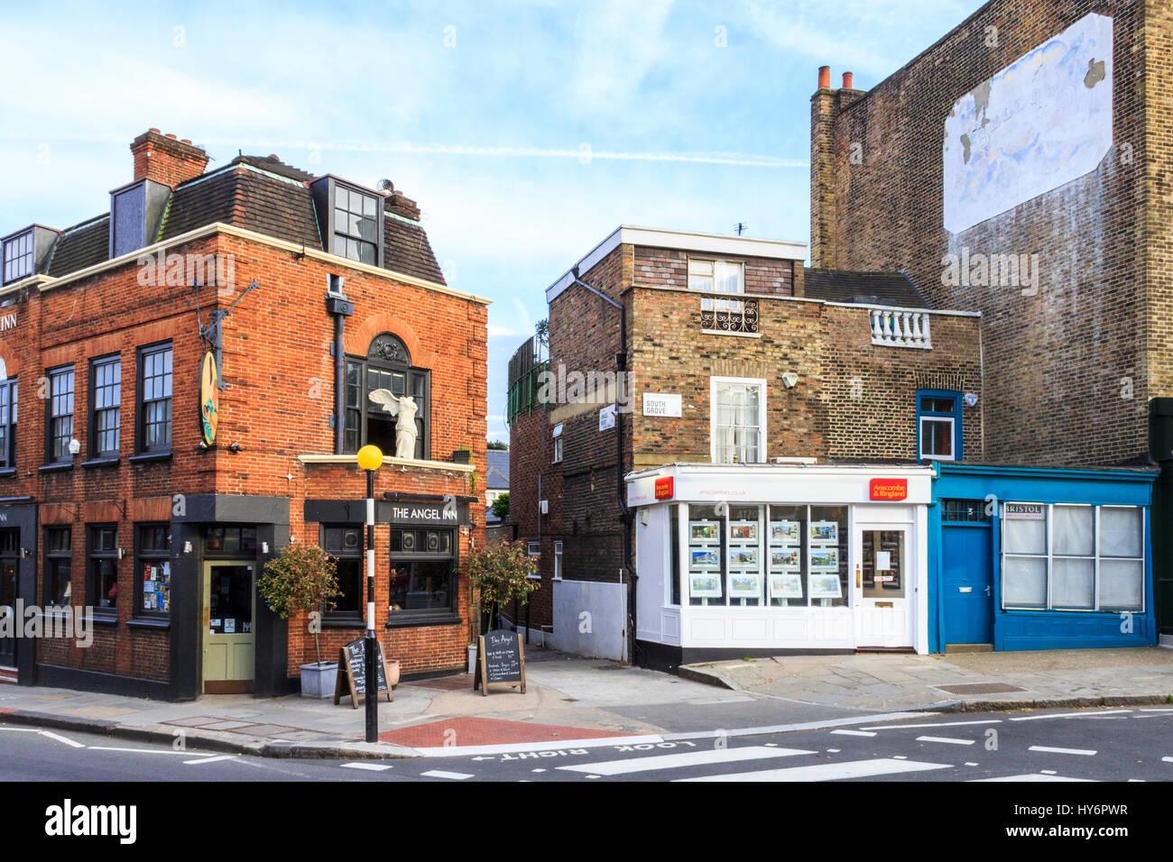 The historic Angel Inn in Highgate Village, London, UK Stock Photo