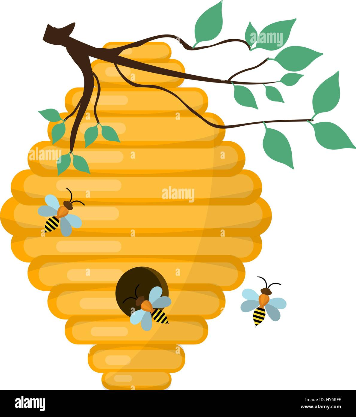 bee hive swarm icon flat style isolated on white background stock rh alamy com beehive clipart black and white bee and hive clipart