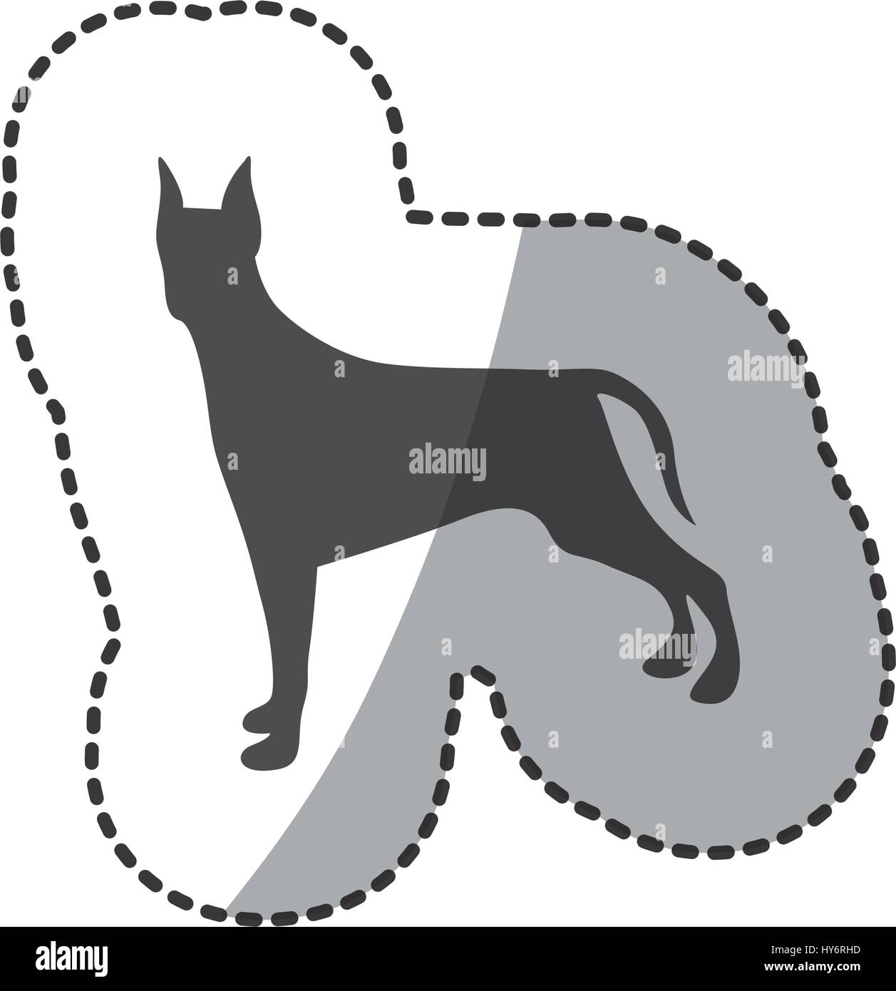 sticker silhouette cute dog animal - Stock Image