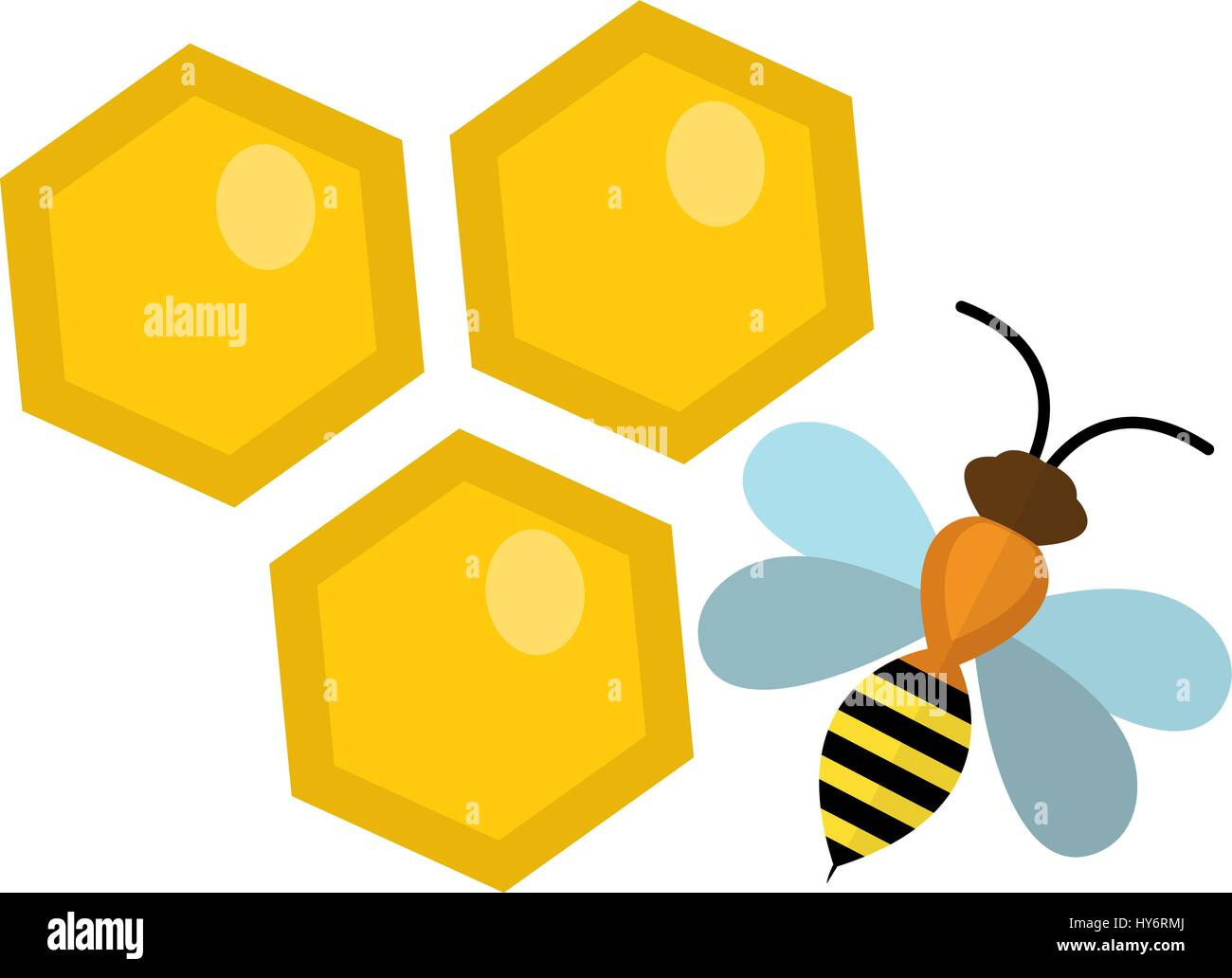 Honeycomb and bee icon, flat style. Isolated on white background. Vector illustration, clip-art. - Stock Vector