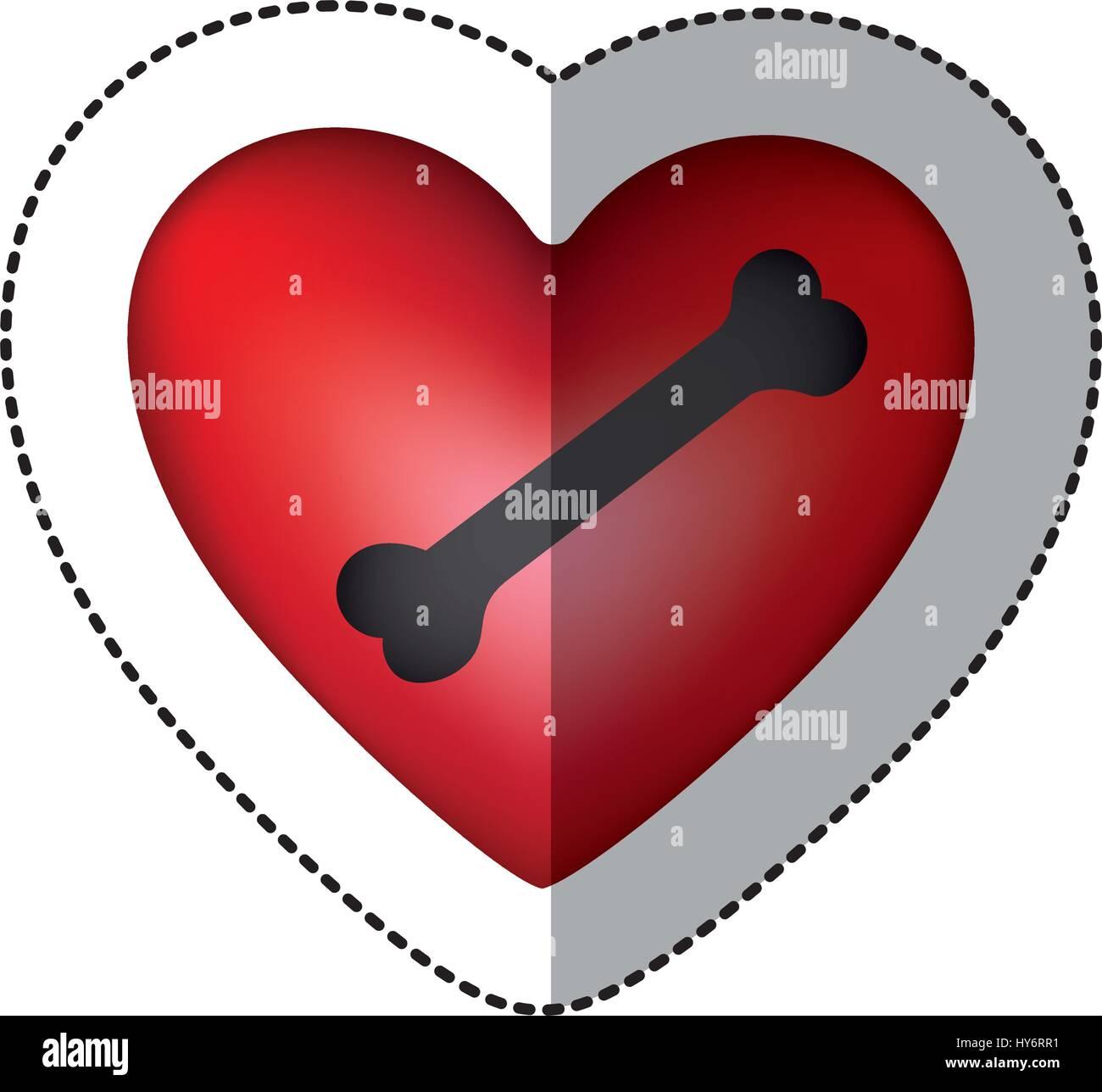 bone dog domestic inside red heart - Stock Vector