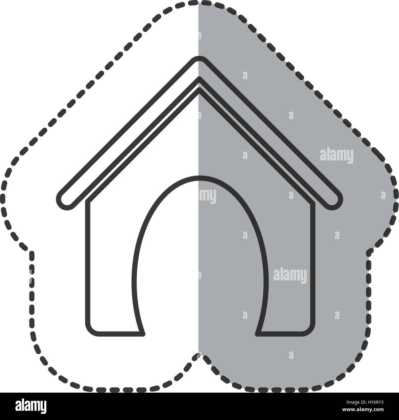 sticker home cute domestic dog - Stock Vector
