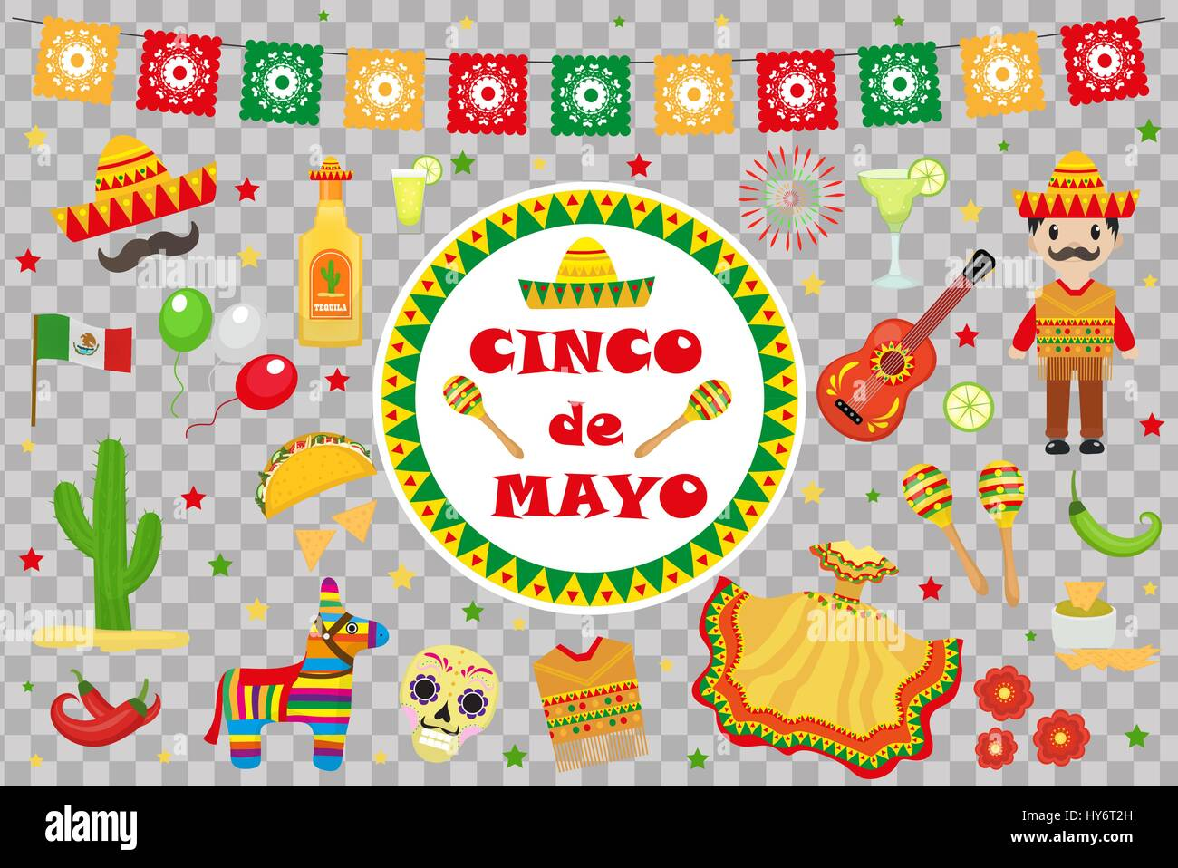 Cinco de Mayo celebration in Mexico, icons set, design element, flat style.Collection objects for Cinco de Mayo Stock Vector