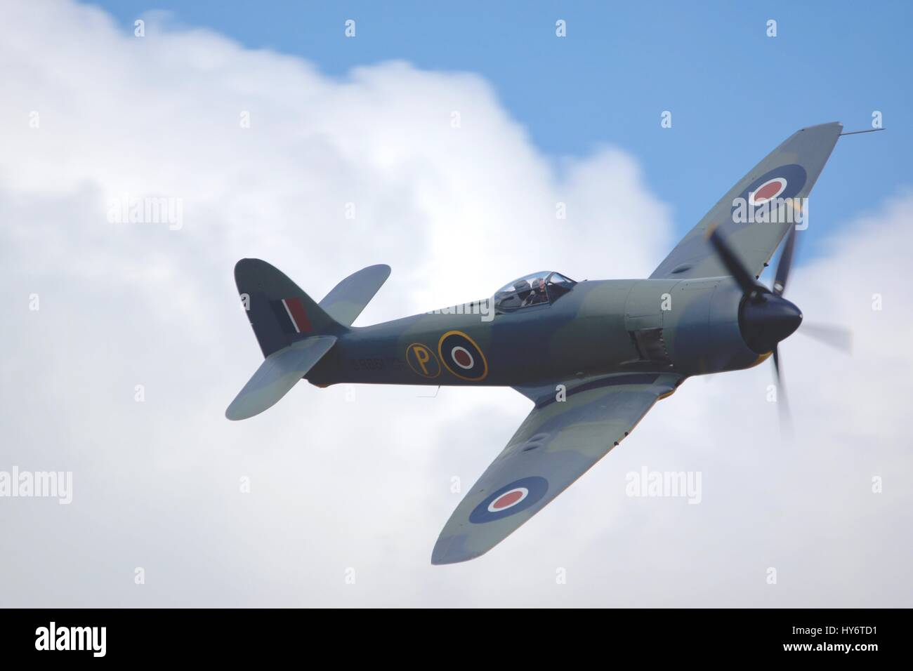 1953 Hawker Fury Mk.II, Serial No. 37539, is owned by Anglia Aircraft Restorations Ltd and on the UK Civil Aircraft - Stock Image
