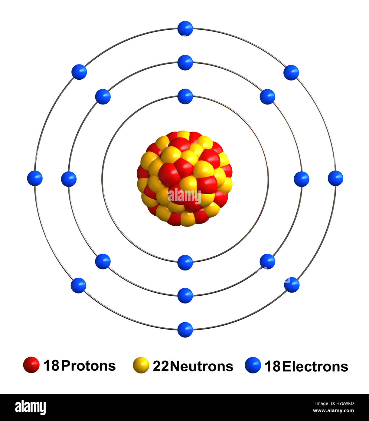 3d render of atom structure of argon isolated over white background 3d render of atom structure of argon isolated over white background protons are represented as red spheres neutron as yellow spheres electrons as bl ccuart Images