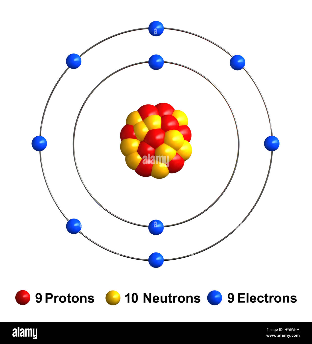 3d render of atom structure of fluorine isolated over white stock 3d render of atom structure of fluorine isolated over white background protons are represented as red spheres neutron as yellow spheres electrons as ccuart Choice Image