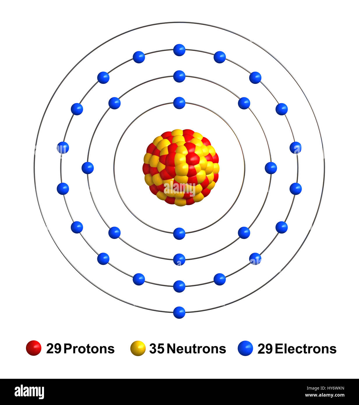 3d render of atom structure of copper isolated over white background How Many Electrons in Copper