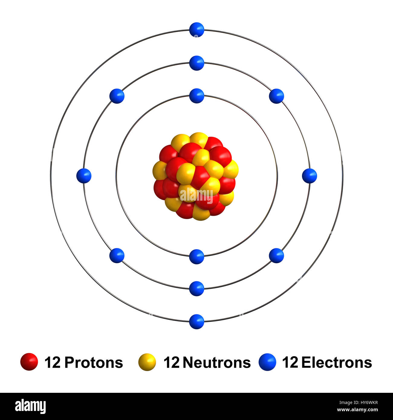 3d render of atom structure of magnesium isolated over white stock 3d render of atom structure of magnesium isolated over white background protons are represented as red spheres neutron as yellow spheres electrons a ccuart Image collections