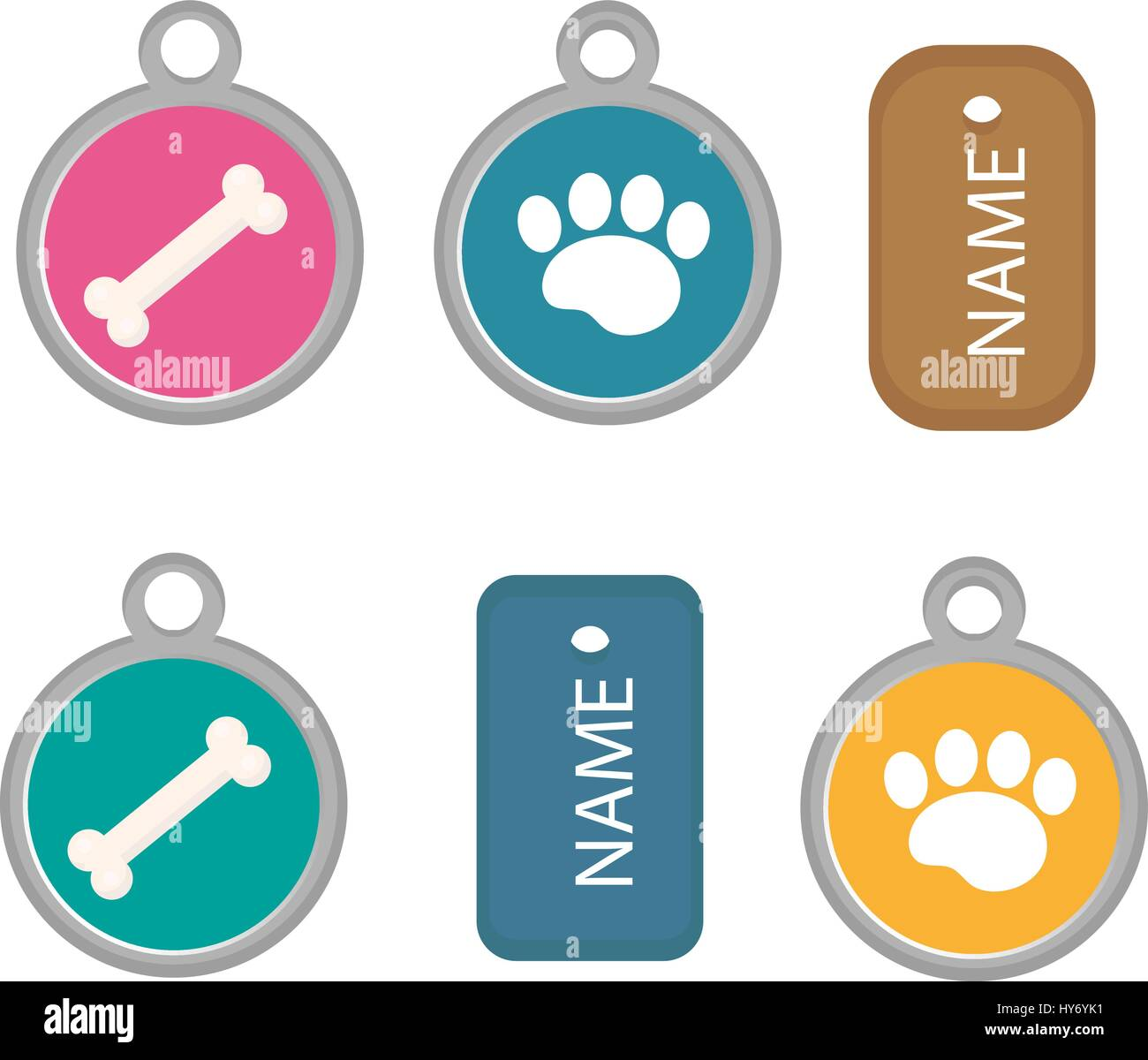 Medallion, dog tag set of icons, flat, cartoon style. Isolated on white background. Vector illustration, clip-art. Stock Vector