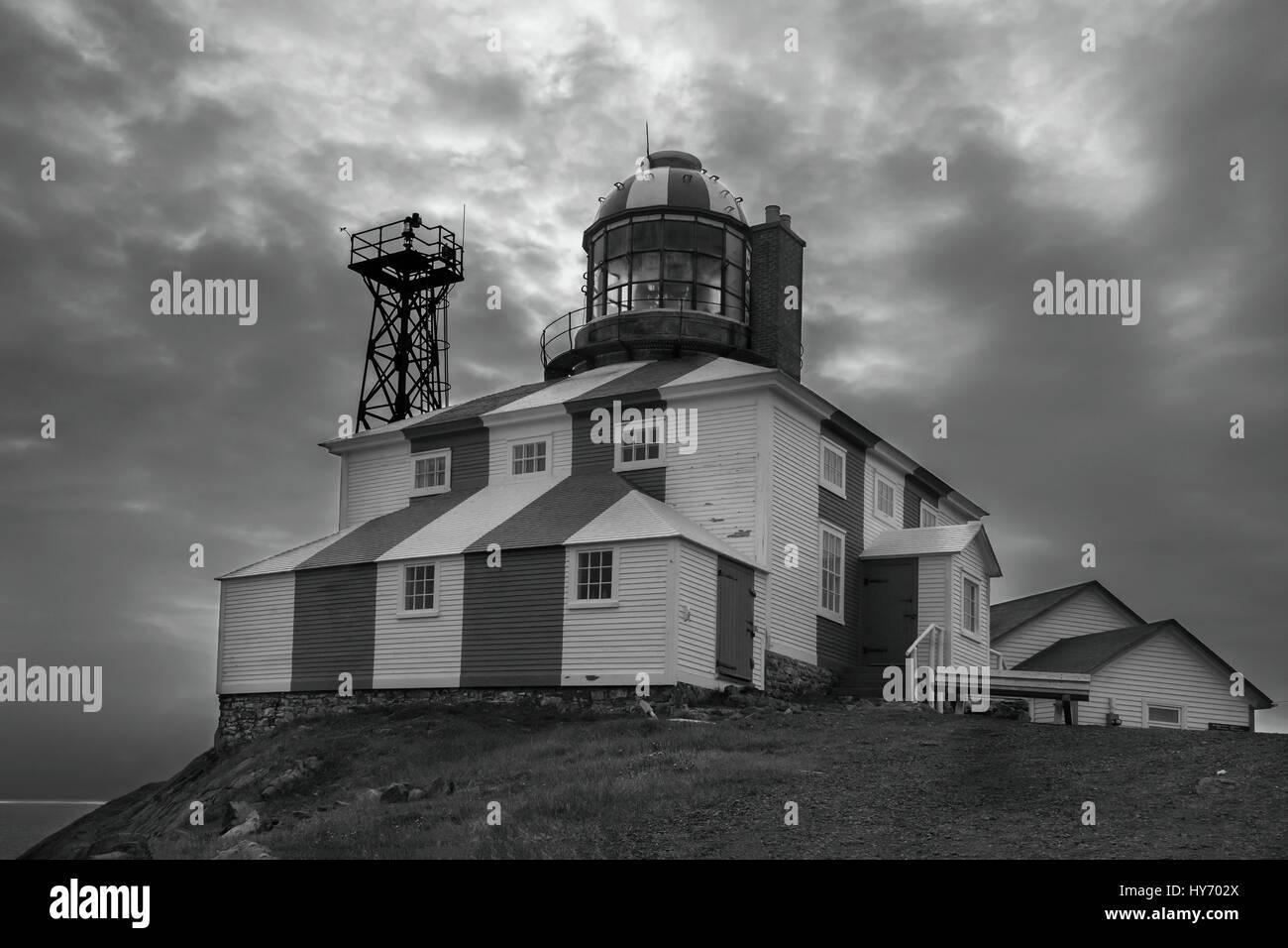 Cape Bonavista lighthouse BW with clouds, Newfoundland - Stock Image