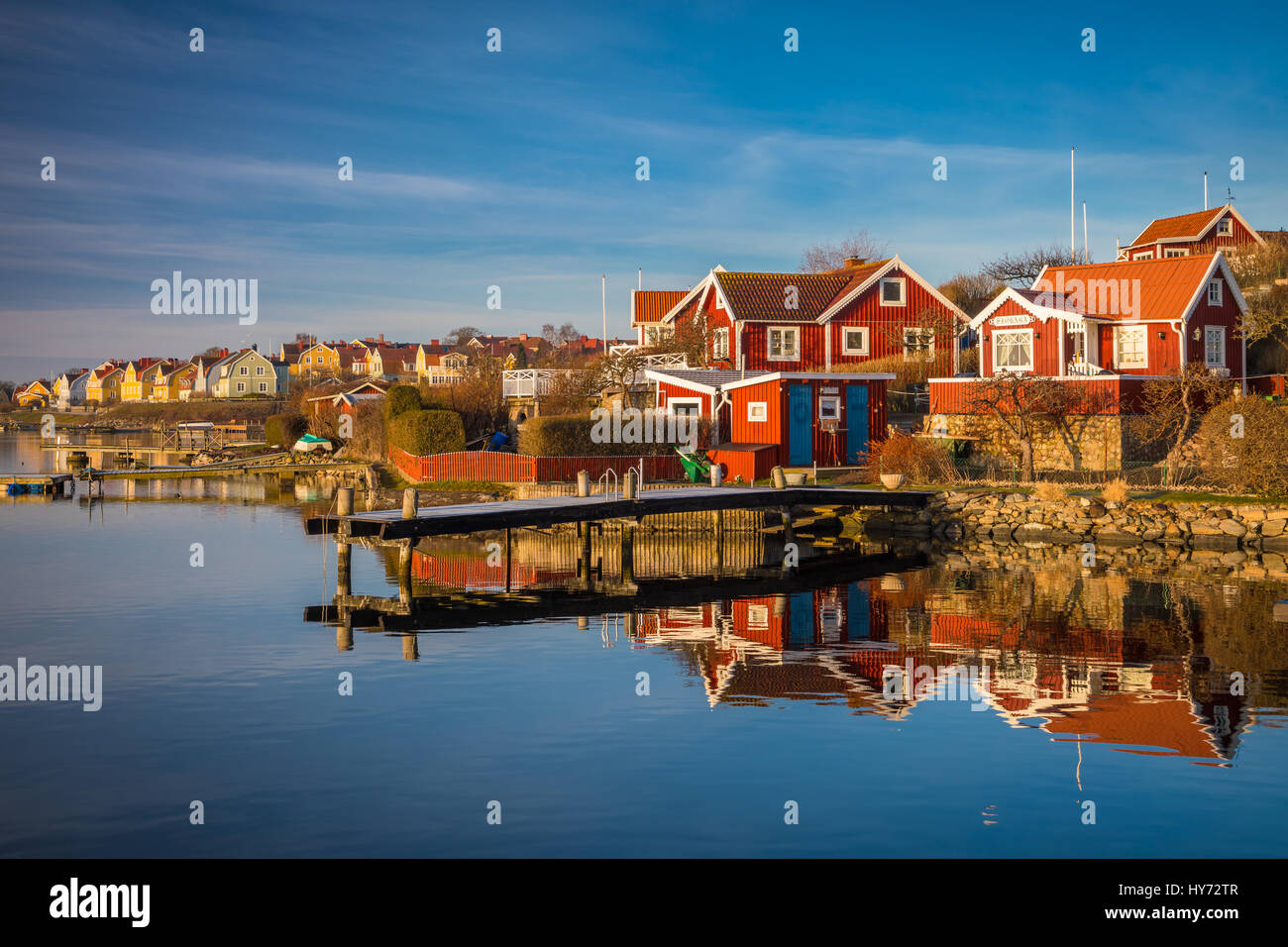 Typical Swedish small cottages in Karlskona, Sweden ..... Karlskrona is a locality and the seat of Karlskrona Municipality, - Stock Image