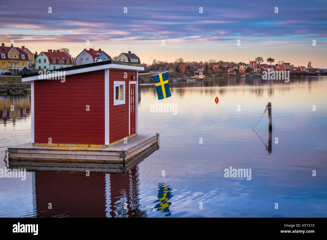 Floating sauna in Karlskona, Sweden ..... Karlskrona is a locality and the seat of Karlskrona Municipality, Blekinge - Stock Image