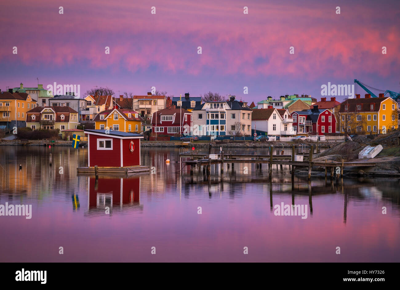 Dock and buildings in Karlskona, Sweden ..... Karlskrona is a locality and the seat of Karlskrona Municipality, Stock Photo