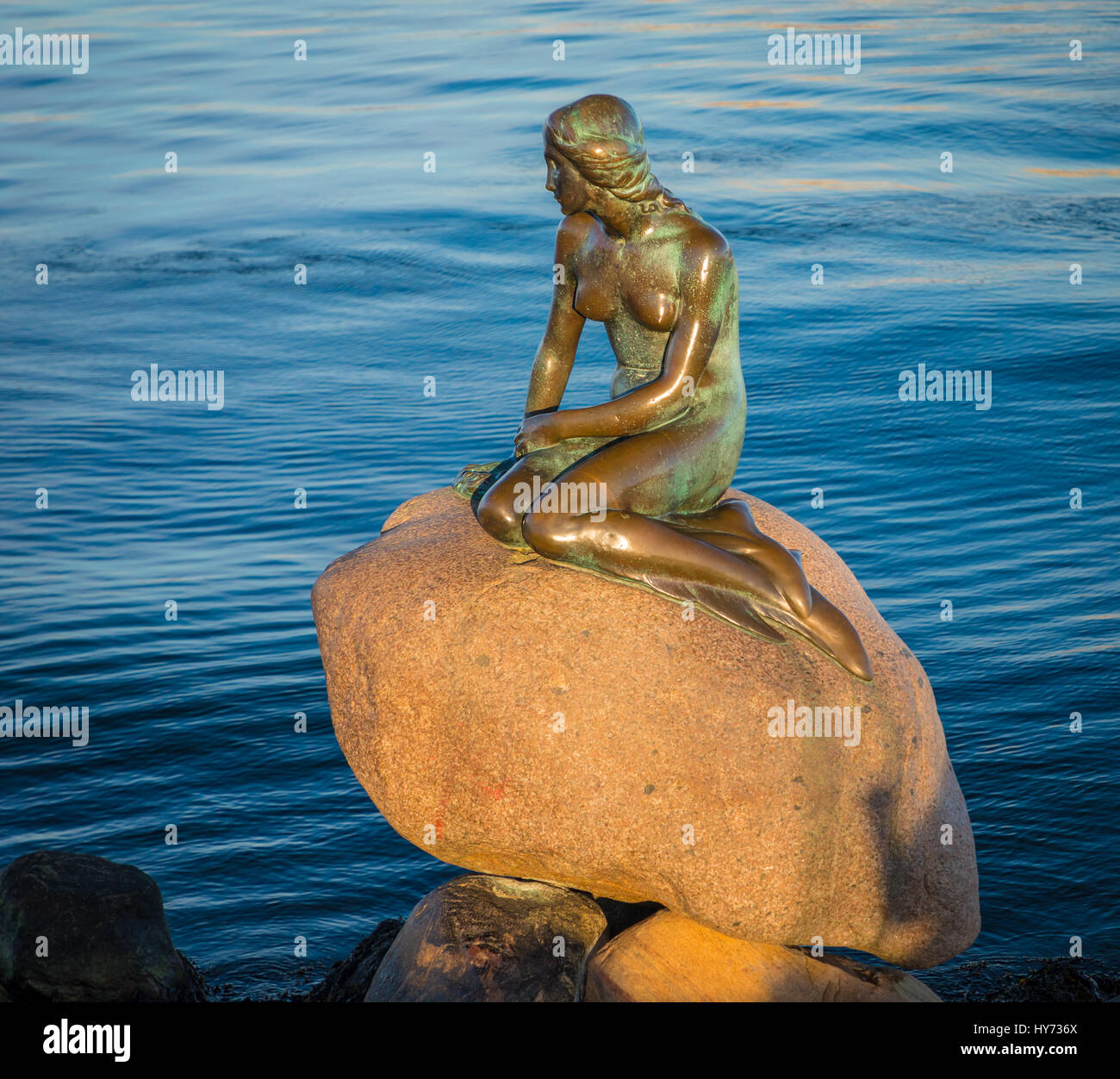 Langelinie (English: Long Line) is a pier, promenade and park in central Copenhagen, Denmark, and home of the statue - Stock Image