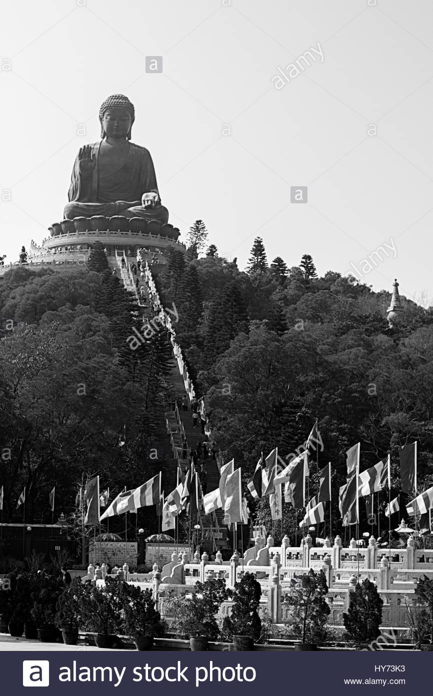 Tian Tan Buddha landmark attraction black white - Stock Image