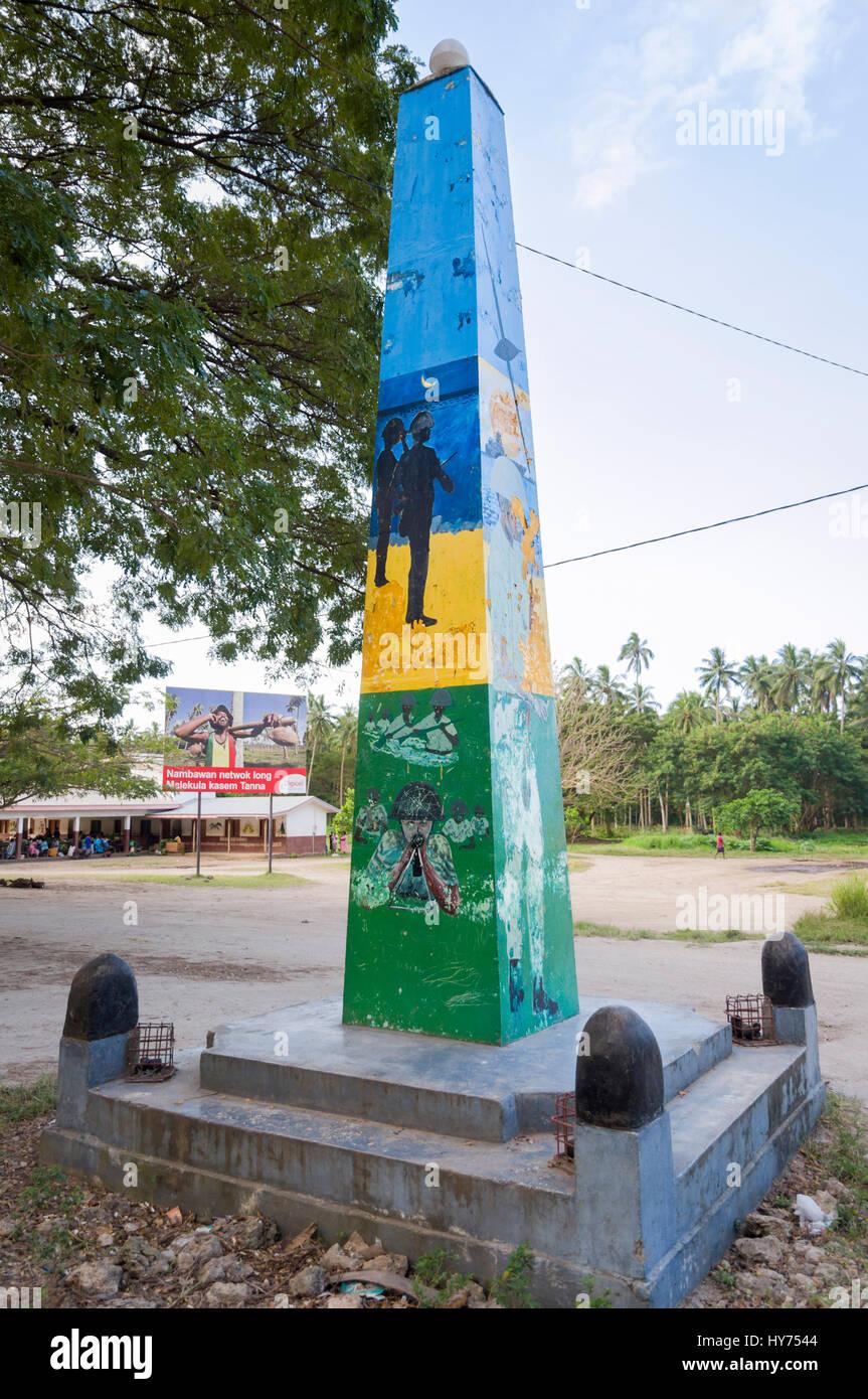 South Pacific war memorial; World War II; Lakatoro, the main town of Malakula Island (also spelled Malekula), Vanuatu. - Stock Image