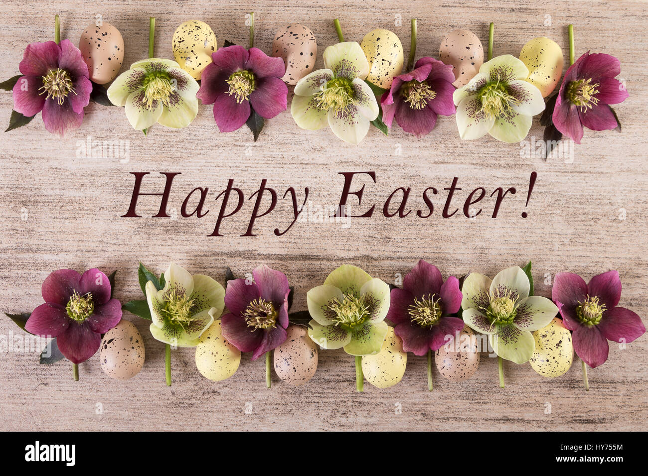 Easter Background Happy Spring Flowers Arrangement On Light Brown Rustic